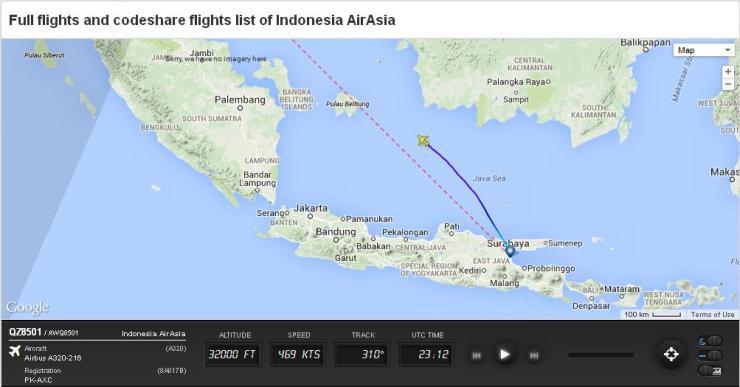Air Asia QZ8501 Flightradar24